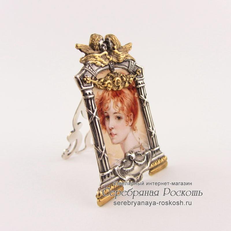 Миниатюрная серебряная фоторамка Ангелочки