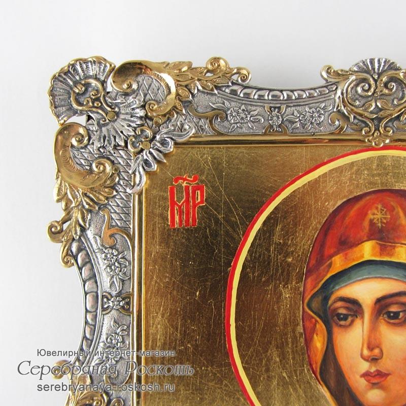 Серебряная икона Божией Матери - Семистрельная