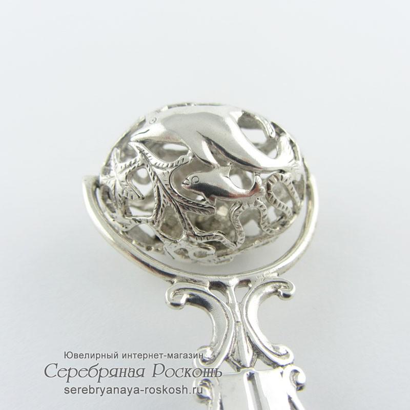 Серебряная погремушка Дельфины