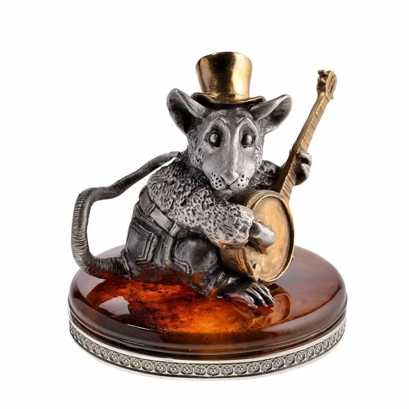 Серебряная статуэтка Крыса с банджо