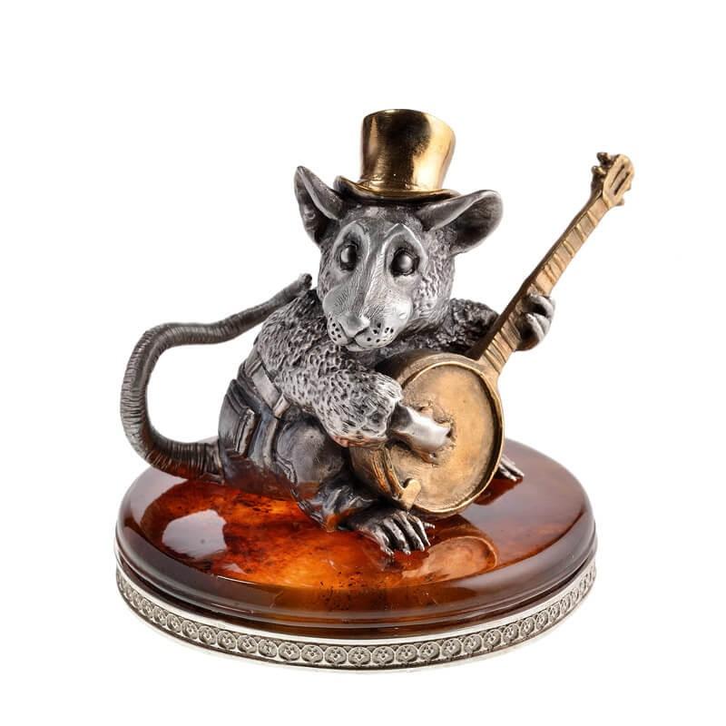 Статуэтка Крыса с банджо - серебро