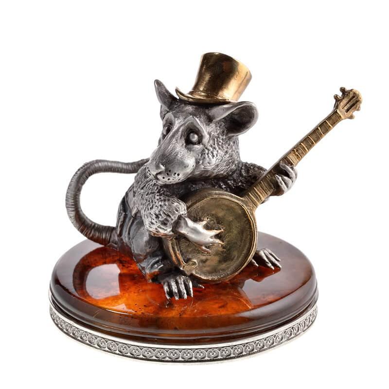 Статуэтка из серебра Крыса с банджо
