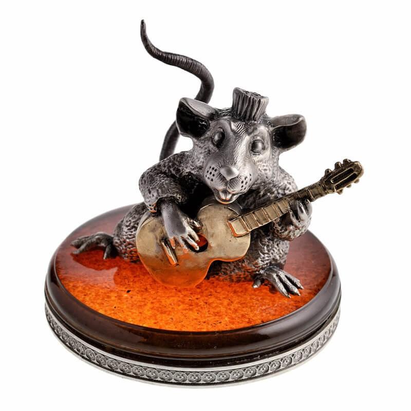 Статуэтка Крыса с гитарой - серебро