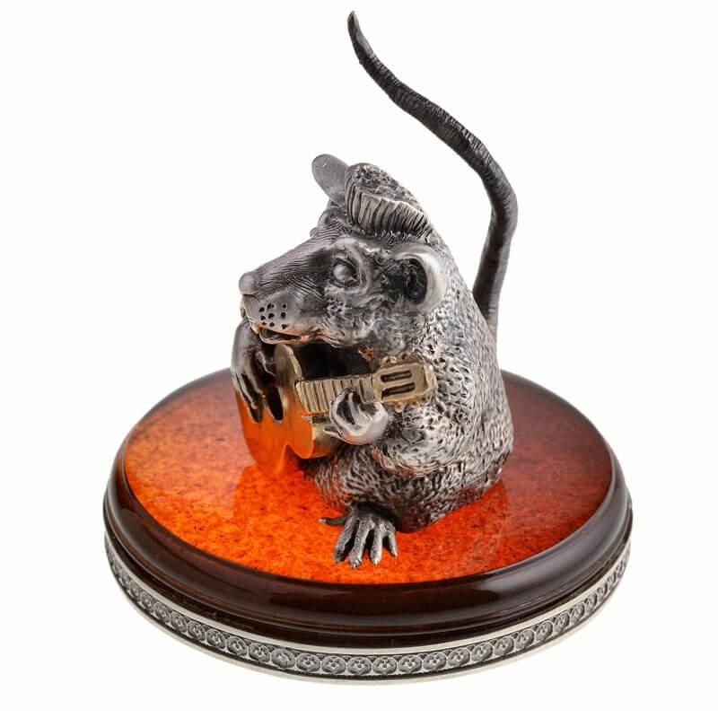 Статуэтка из серебра Крыса с гитарой