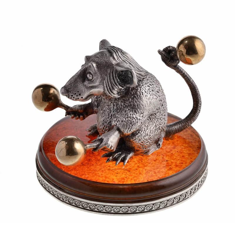 Статуэтка Крыса с маракасами - серебро