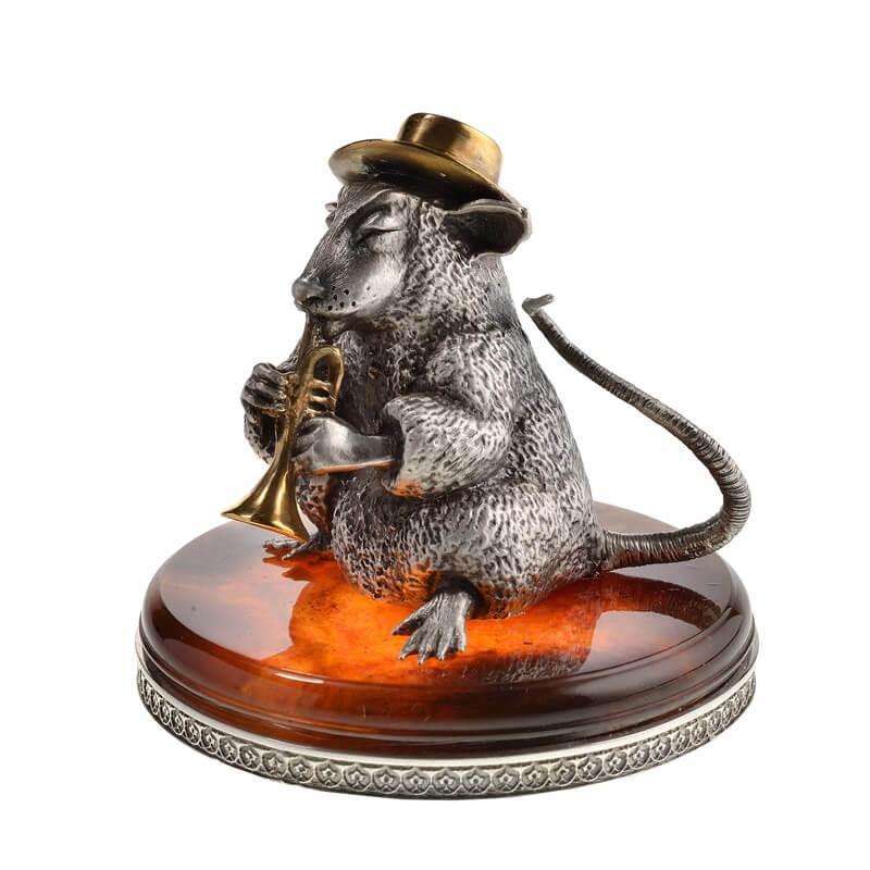 Статуэтка из серебра Крыса с трубой