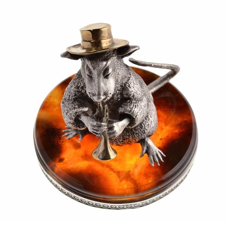 Статуэтка Крыса с трубой - серебро