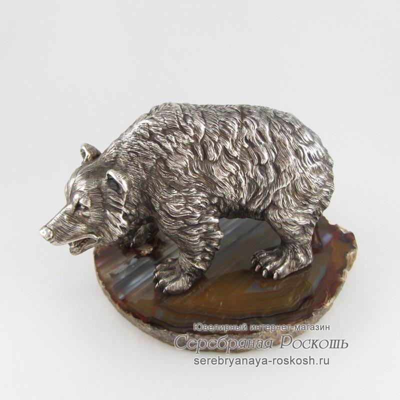 Серебряная статуэтка Медведь