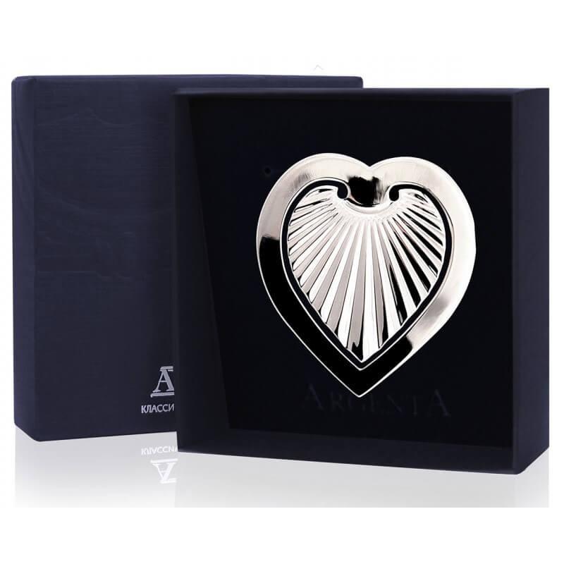 Серебряная закладка для книг Сердечко