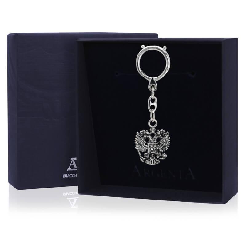 Серебряный брелок для ключей Герб с чернением