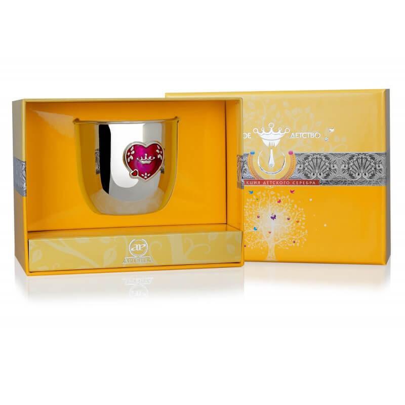 Серебряный стакан детский Сердце с эмалью