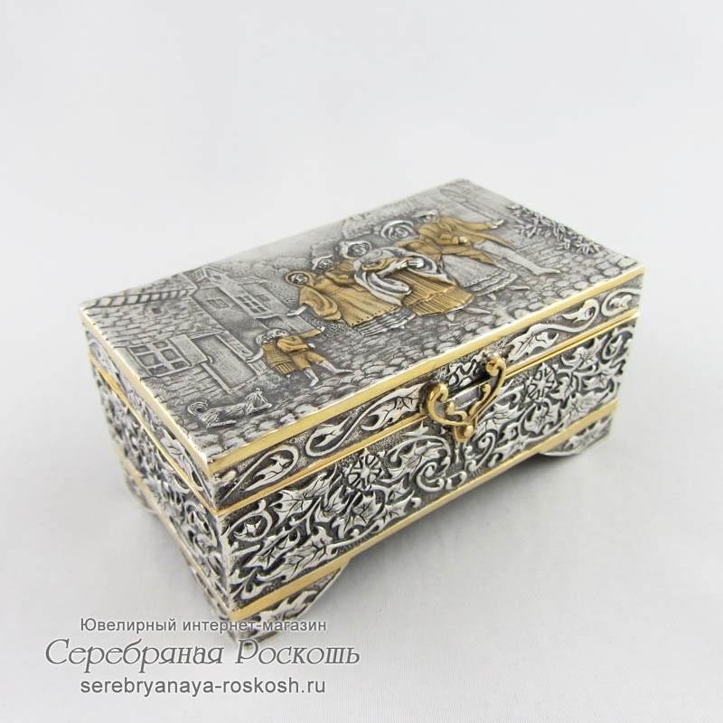 Серебряная шкатулка Крестины