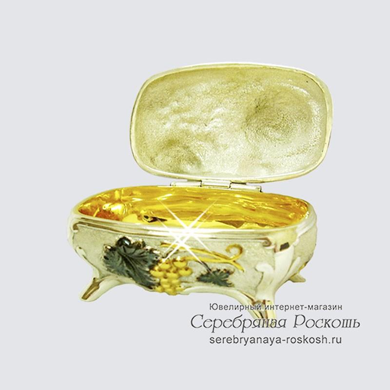 Серебряная шкатулка Виноград