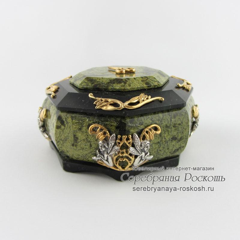 Шкатулка из малахита для украшений (восьмигранная)