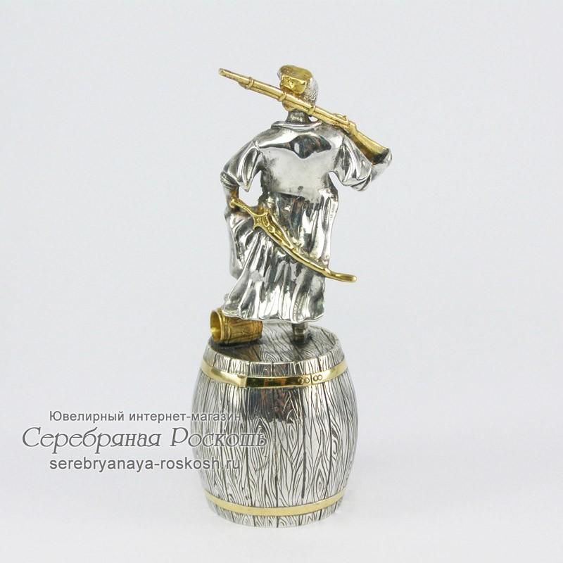 Серебряная штрафная рюмка Казак с ружьём