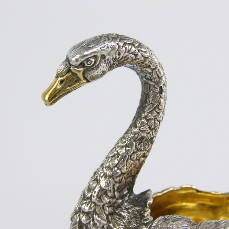 Серебряная солонка Лебедь