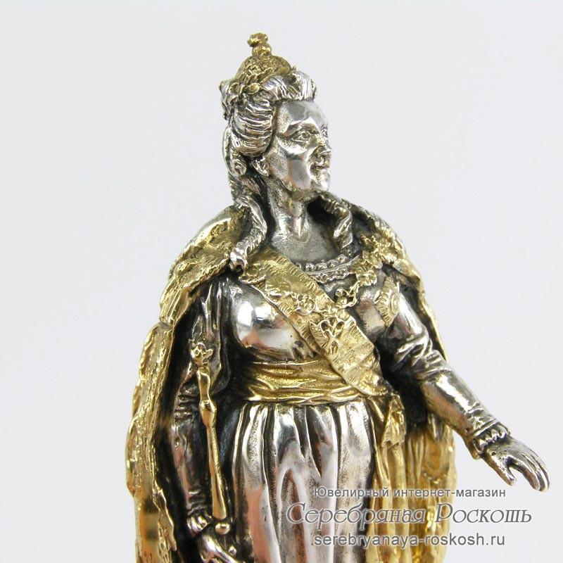 Серебряная статуэтка Екатерина II