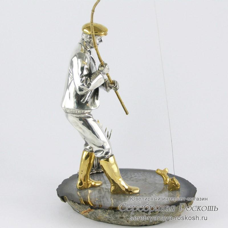 Серебряная статуэтка Рыбак