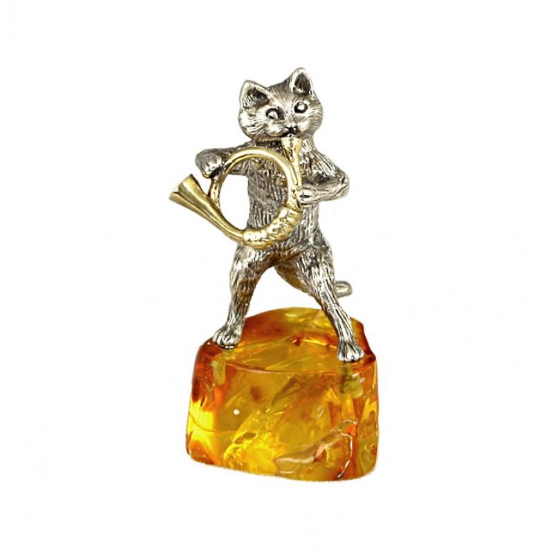 Серебряная статуэтка Кот с трубой
