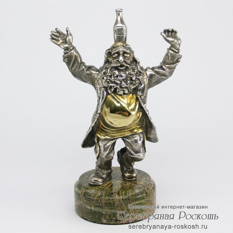 Статуэтка из серебра Еврейский танец с бутылкой