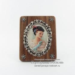 Деревянная рамка для фото Цветы