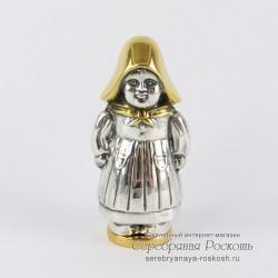 Солонка - перечница из серебра Девочка