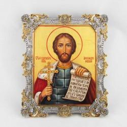 Серебряная икона Александр Невский