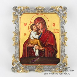 Икона в серебряном окладе Почаевская Богородица