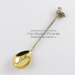 Серебряная чайная ложка Лебедь