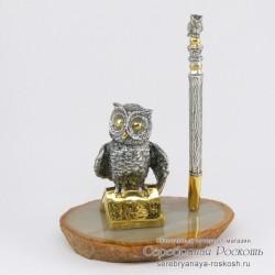 Серебряная подставка для ручки Сова
