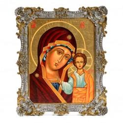 Серебряная икона Казанская Божья Матерь