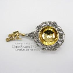 Серебряное ситечко для чая Лев