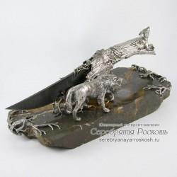 Нож из дамасской стали Волки