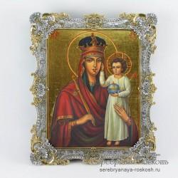 Серебряная икона Божьей Матери - Призри на смирение