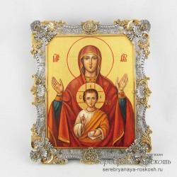 Серебряная икона Божией Матери - Знамение