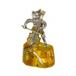 Статуэтка Кот с контрабасом на янтаре