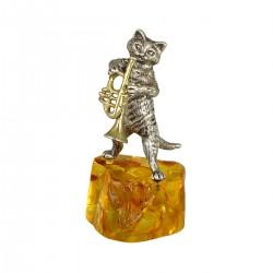 Статуэтка Кот с трубой на янтаре