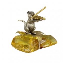 Статуэтка Мышка со скрипкой на янтаре