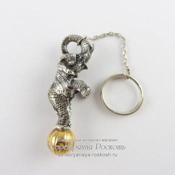 Серебряной брелок Слоник на шаре