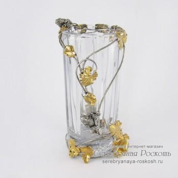 Серебряная ваза для цветов Лягушки