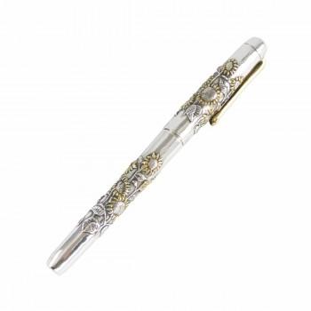 Шариковая ручка из серебра Подсолнухи