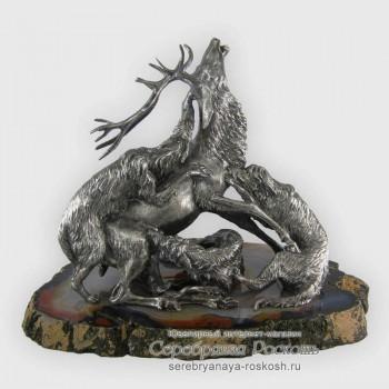 Серебряная статуэтка Охота на оленя