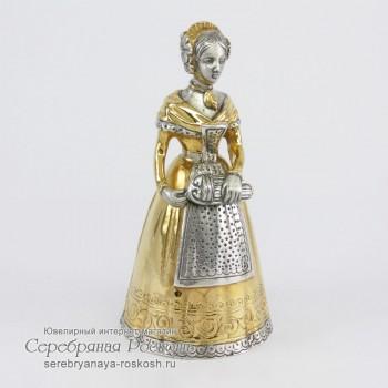 Серебряный колокольчик Девушка с лирой