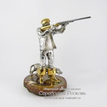 Серебряная статуэтка Охотник с ружьем